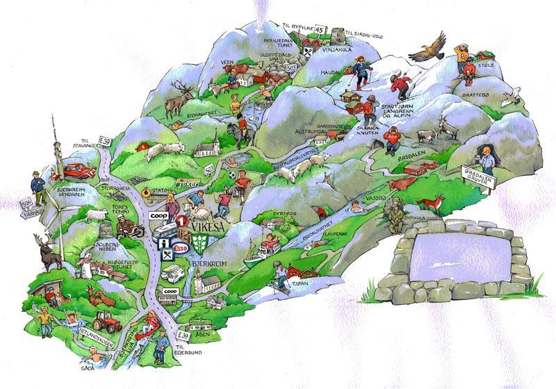 tegne i kart Kart over Bjerkreim kommune